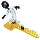 3D Character Businessman Surfing on Golden Key