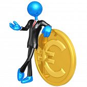3D Businessman With Gold Euro Coin