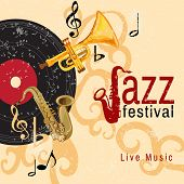 pic of wind instrument  - Jazz retro music festival concert live horn performance poster with black vinyl gramophone record abstract vector illustration - JPG