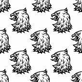 Stylized black eagle seamless pattern