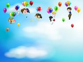 Cute Cartoon People And Chidren Floating In The Sky With Balloons Background