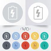Battery charging sign icon. Lightning symbol.