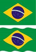 Flat and waving Brazilian Flag. Vector