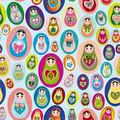 Seamless Patten With Russian Dolls On A Blue Background. Vector