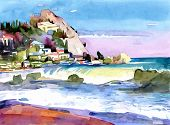 original watercolor painting on paper of a rocky bank