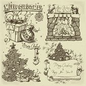 set of christmas elements