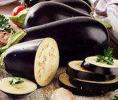 Eggplants With Fresh  Herbs.selective Focus