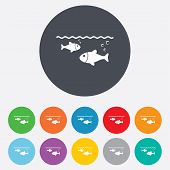 Fish in water sign icon. Fishing symbol.