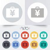 Case with Yen JPY sign. Briefcase button.