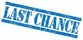Last Chance Blue Grungy Stamp On White Background