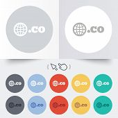 Domain CO sign icon. Top-level internet domain