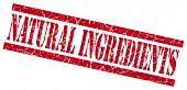 Natural Ingredients Red Grungy Stamp On White Background