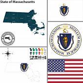 Map Of State Massachusetts, Usa