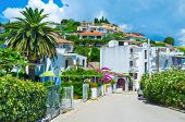 picture of yugoslavia  - The hilly street with tiny gardens surrounding the cottages and hotels Ulcinj Montenegro - JPG
