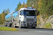 Scania R500 V8 Milk Tank Truck On The Road