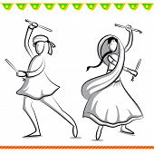 image of navratri  - easy to edit vector illustration of people doing Dandiya in Navratri - JPG