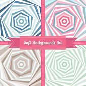 Vector vortex abstract backgrounds set in sweet pastel colors