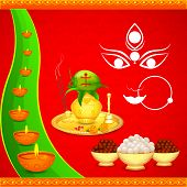 picture of durga  - easy to edit vector illustration of wishes for Durga Puja - JPG