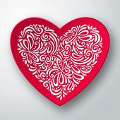 Three dimensional heart with white pattern.