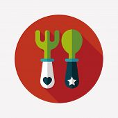 Dishware And Cutlery Flat Icon With Long Shadow,eps10