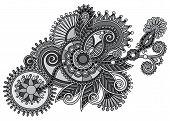 grey ornamental floral adornment