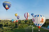 Minsk, Belarus. 12-september-2014: View Of Hot Air Baloon Flying Over Minsk City At The Championship