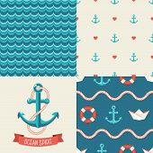 Navy vector seamless patterns. Vector illustration.