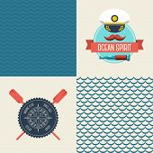 Navy vector seamless patterns set, scallop and waves.