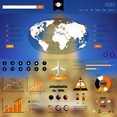 Web and mobile template with infographics icons.