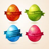 Vector eggs made of pattern with ribbons.