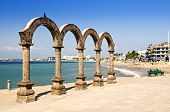 stock photo of malecon  - Los Arcos Amphitheater at Pacific ocean in Puerto Vallarta Mexico - JPG
