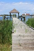 foto of pontoon boat  - wooden pontoon in Okracoke harbour - JPG