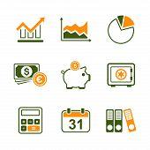 Finance simple vector icon set