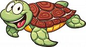 Cartoon sea turtle. Vector clip art illustration with simple gradients. All in a single layer.