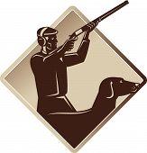 Hunter Shooting Rifle Retriever Dog Retro