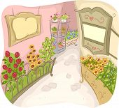 Illustration of an Alley Decorated with Colorful Flowers