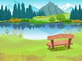 Illustration of Bench Sitting Beside a Lake Located at the Foot of a Mountain