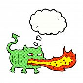 cartoon fire breathing imp with thought bubble