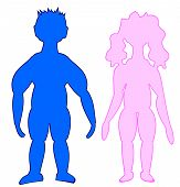 Color Silhouettes - Girl And Guy