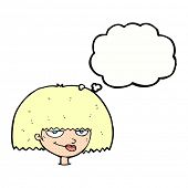 cartoon mean female face with thought bubble