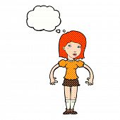 cartoon woman looking sideways with thought bubble