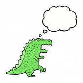 cartoon dinosaur with thought bubble