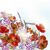 Field Flowers With Butterflies