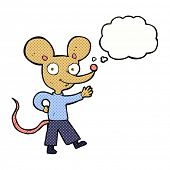 cartoon waving mouse with thought bubble