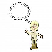 cartoon hippie man giving thumbs up symbol with thought bubble