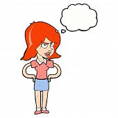 cartoon annoyed woman with hands on hips with thought bubble