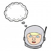 cartoon astronaut head with thought bubble