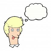 cartoon man with tongue hanging out with thought bubble