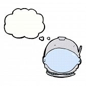 cartoon astronaut face with thought bubble