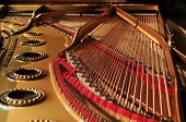 stock photo of grand piano  - interior of a concert grand piano  - JPG